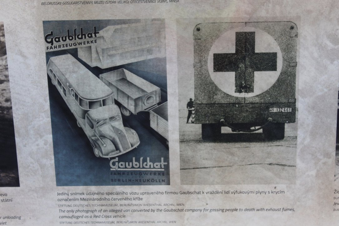 One of the horrors not widely known. This is from the Museum at Pinkus Synagogue, Prague. They disguised vehicles as red cross trucks and used them to gas people. #WeRemember