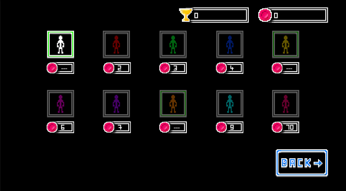 So I found some time to do some more stuff. Still being on a Break of mini beasts. You see a style screen. Where you can unlock new styles. 🤩  #gamedev #indiedev #stickrunner #unity3d #pixelart #indiegame #indiedeveloper #style #uiux