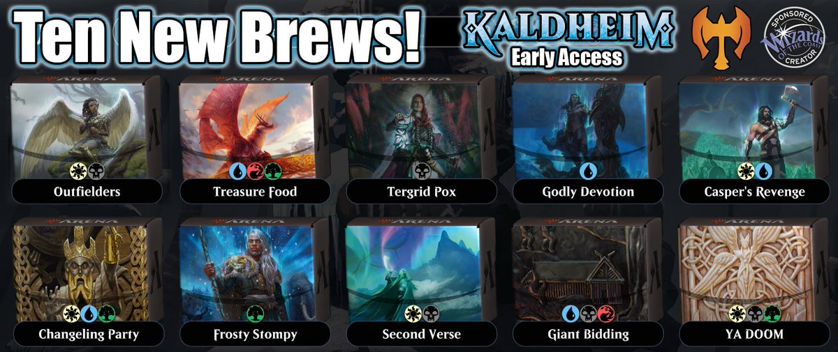 It is time for #MTGKaldheim and #TenNewBrews!  Who's ready?  Starting in 30 minutes!  Raise Mjölnir and prepare yourself... if you are worthy🔨    #jimdOMG @CoalesceAD @BCWSupplies @CoolStuffInc @cardboardlive #sponsored @ArenaDecklists #mtgkhm #earlyaccess