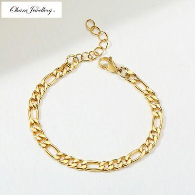 18K Yellow Solid Gold Filled 5MM Curb Cuban Figaro Link Chain Bracelet £8.99! #fashion #photography #instajewelry #art #love #style #design #bride #beauty #januarysale #januarysales 😉