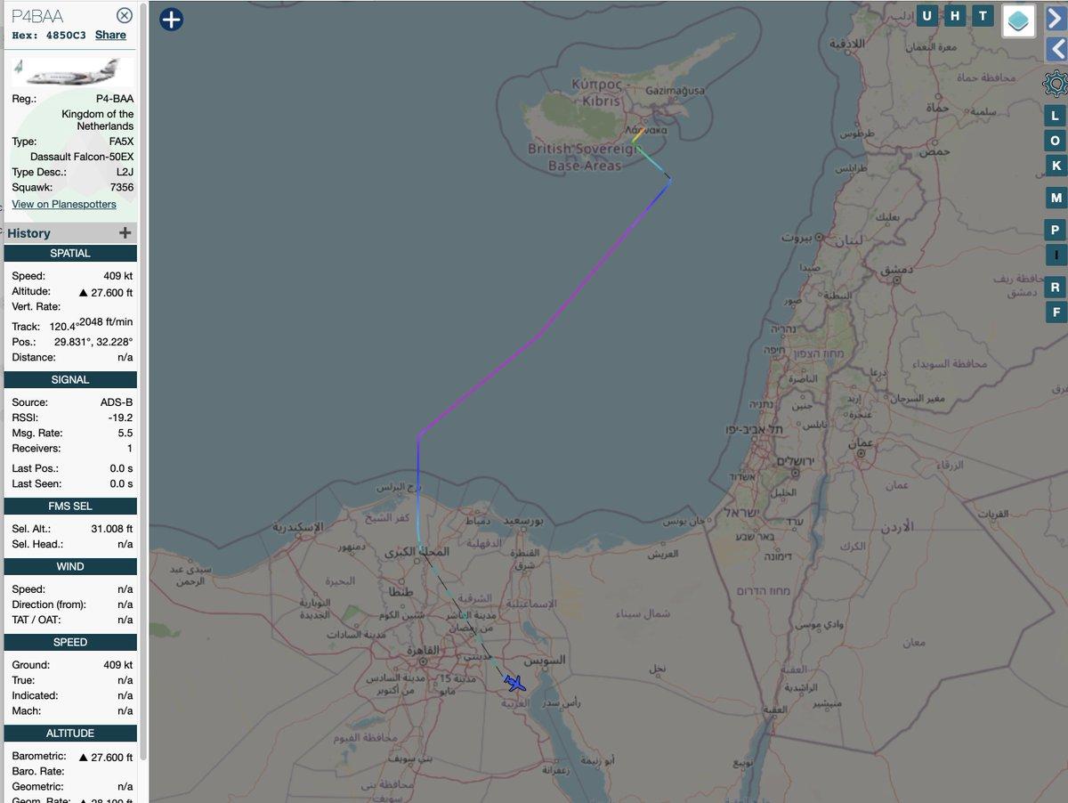 LNA/Haftar related Sonnig Jet Dassault Falcon 50EX P4-BAA flew Larnaca, Cyprus- Cairo and is now en-route presumably to UAE; 27Jan2021, last screenshot around 1900 hrs UTC. #LNA #Libya #UAE #P4BAA