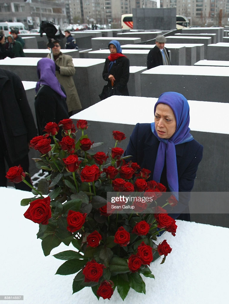 On the memorial of #HolocaustRemembranceDay  Maryam Rajavi, president of the National Council of Resistance of Iran, lays flowers on stellae while visiting the Holocaust Memorial on November 25, 2008, in Berlin, Germany.  Mullahs repeated Holocaust in #1988Massacre in #Iran