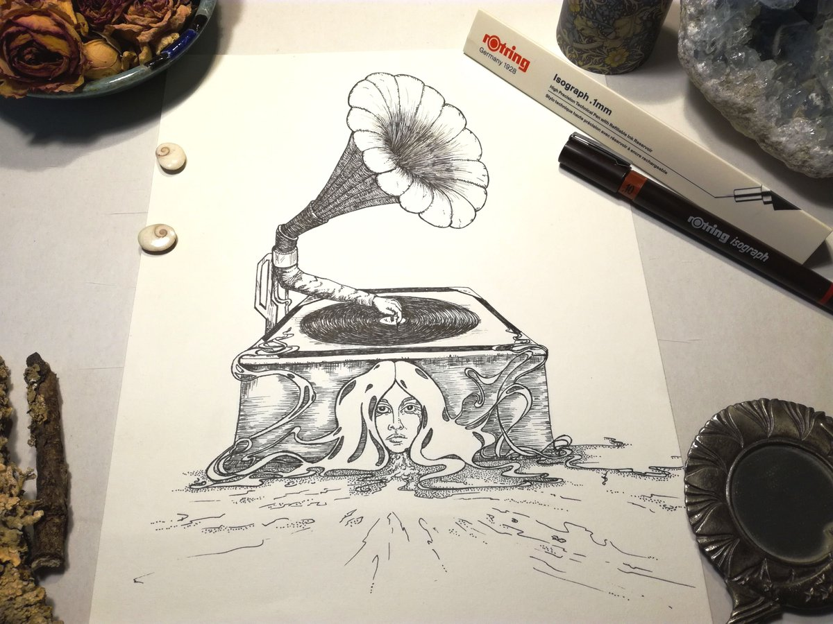 """""""The Musical Box"""" Inkdrawing inspired by @christinemcconnell & @genesis_band #inkdrawing #ink #rotring #vintage #artnouveaustyle #artnouveau #artwork #ArtistOnTwitter #illustration #gramophone #horror #oldies #oldiesbutgoodies #christinemcconnell #spooky #scary #encredechine"""