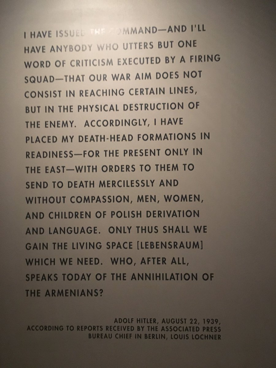 """@GeorgeFureyNL @Senators Today is #HolocaustRemembranceDay. Reminder what Hitler said on Aug 22 1939 """"Who, after all, speaks today of the annihilation of the Armenians?"""" What are YOU doing to prevent Turkey's current genocidal actions against Armenians?  Pic from @HolocaustMuseum"""