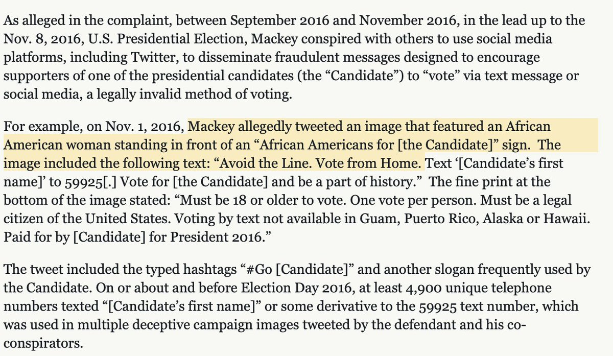 """Avoid the Line. Vote from Home. Text '[Candidate's first name]' to 59925[.]""  At least 4,900 numbers replied to these...  Influencer Douglass Mackey charged. Conspired w/others to spread voting disinformation in 2016.  h/t @donie  Source: https://t.co/PZWjhH5DN8 https://t.co/RyfGbOTigr"