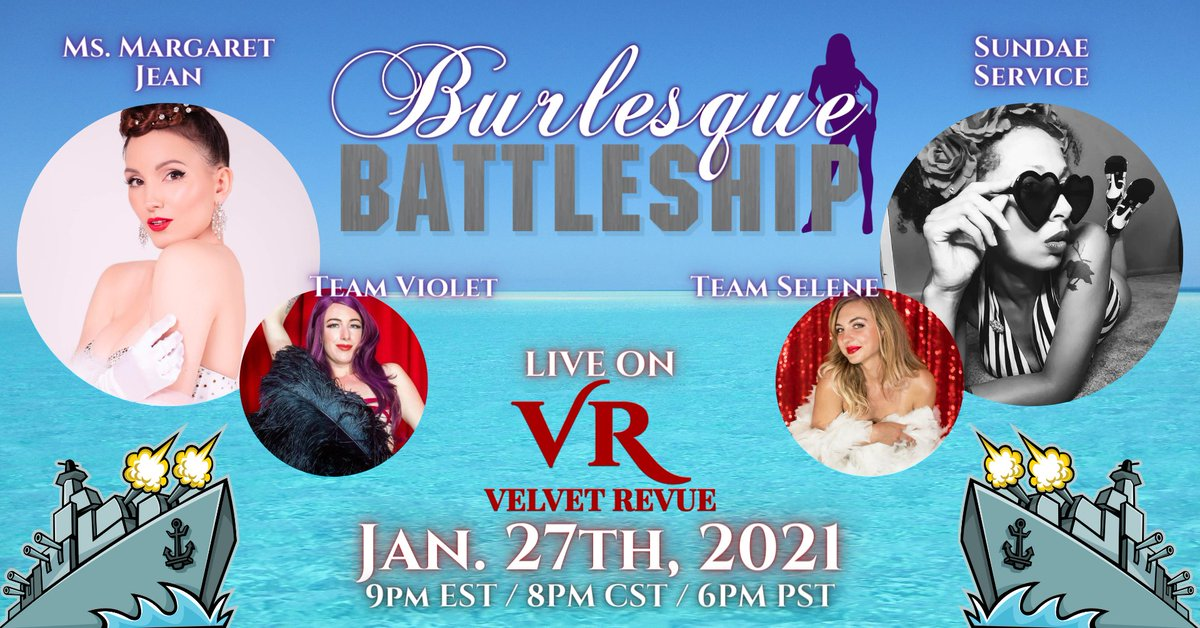 TONIGHT! 💥 Don't miss this livestream event of a lifetime.  Things are about to get explosive as our sexy scalawags hurl bombs and pirate insults to sink each other's ships. Each ship destroyed means one garment removed!   #Burlesque #Battleship #GameNight