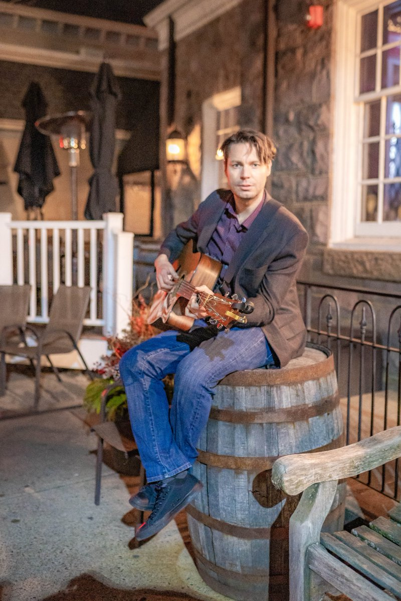 #Wednesdayvibes Sometimes you need to just sit on a #barrel to contemplate #life.  #livemusic #liveperformance #drewbrightbill #wordsinflight #music #guitar #outside #vibes #goodvibes #band #winter #january2021