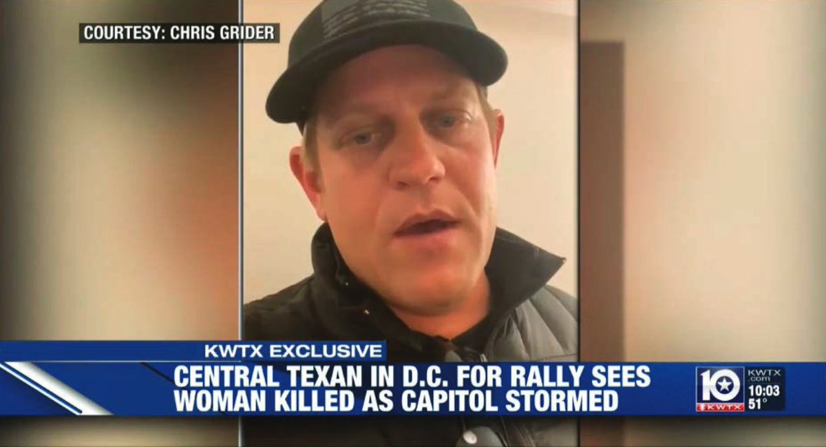 """Chris Grider, who was with Ashli Babbitt when the mob tried to break into the Speaker's Lobby, has a hearing coming up in Texas Fed.  """"The president asked people to come and show their support I feel like it's the least that we can do,"""