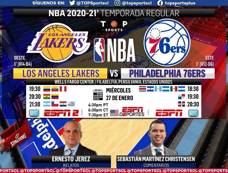 #NBA | Temporada Regular #LakeShow [@LosLakers] 🆚 #HereTheyCome [@sixers] 🎙️ Relatos: @EJerezESPN  🎙️ Comentarios: @SebastianMCESPN  🤳 #NBAxESPN | #NBATwitter 📺 ESPN 2 Sudamérica  📺 ESPN México y Centroamérica 📺 ESPN Deportes (En 🇺🇸) 📱💻 ESPN Play 🔃❤️ https://t.co/6gxYxE4KI6