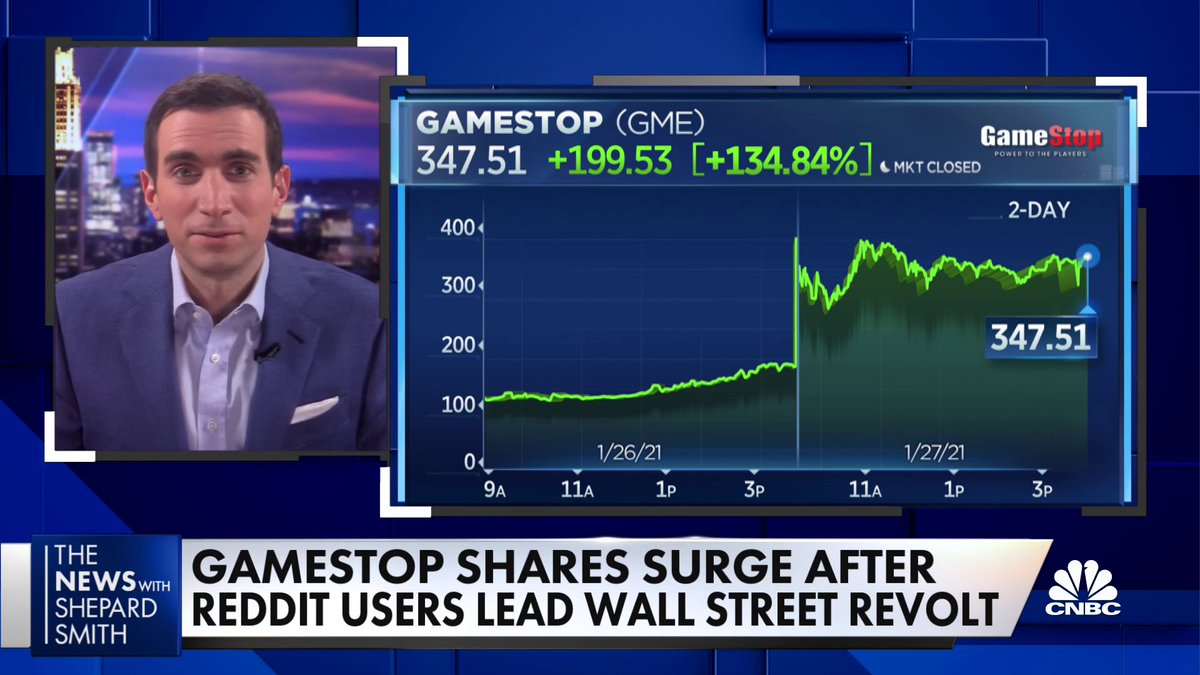 "Shares of GameStop have soared amid a retail buying frenzy. @andrewrsorkin joins us to discuss: ""It's become a Ponzi scheme that has gotten more than a bit out of control."""