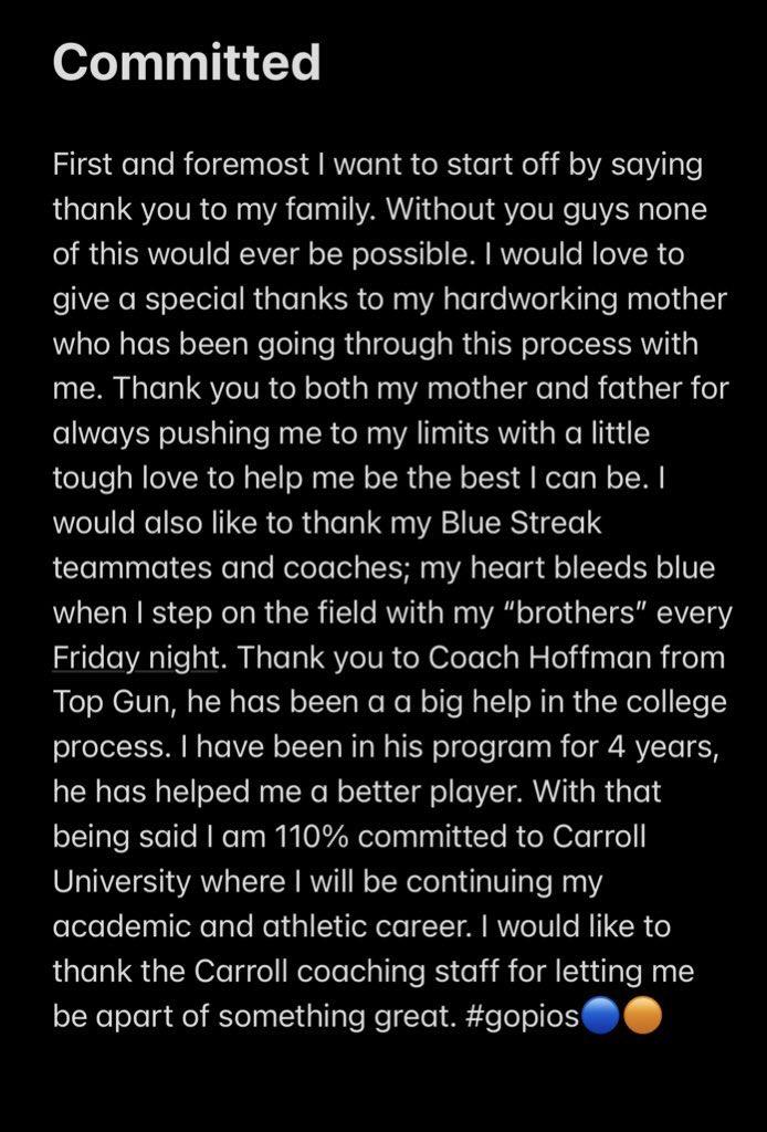After having some great talks with @Coach__Nach, I'm blessed to say I am committing to @piofootball! #letsgopios🔵🟠 @FBstreaks @DeepDishFB @CoachBigPete @EDGYTIM @PrepRedzoneIL @TopGunQB