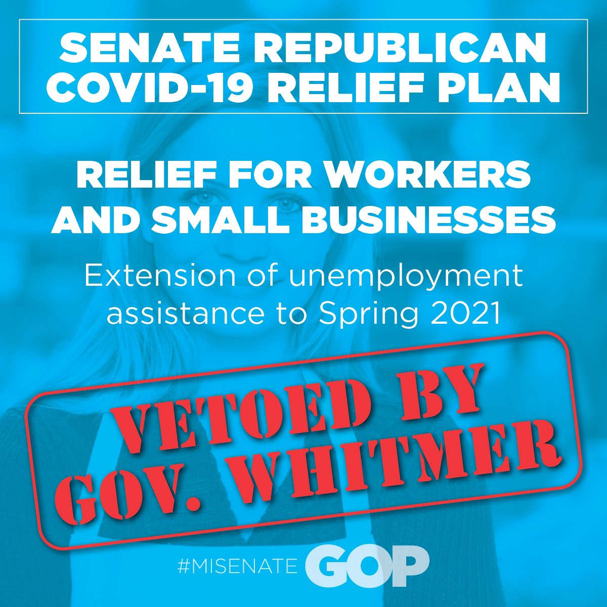 Just a reminder, @GovWhitmer VETOED the extension of unemployment benefits that the #MISenateGOP passed in December. #MISOTS21