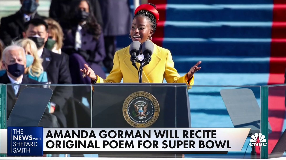 Remember the young poet who stole the show at the inauguration? Now @TheAmandaGorman is taking her talent to the Super Bowl.