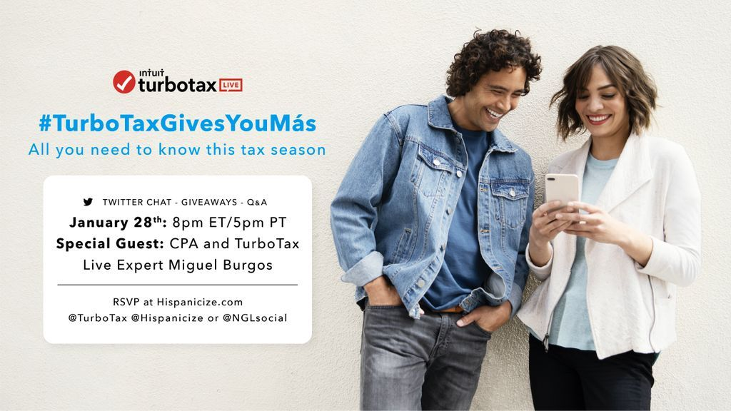 Amiga! Have you experienced the new way of doing taxes with @TurboTax yet? Join us for the #TurboTaxGivesYouMas Twitter Party TOMORROW 1/28 at 8pm ET! RSVP:  #Ad