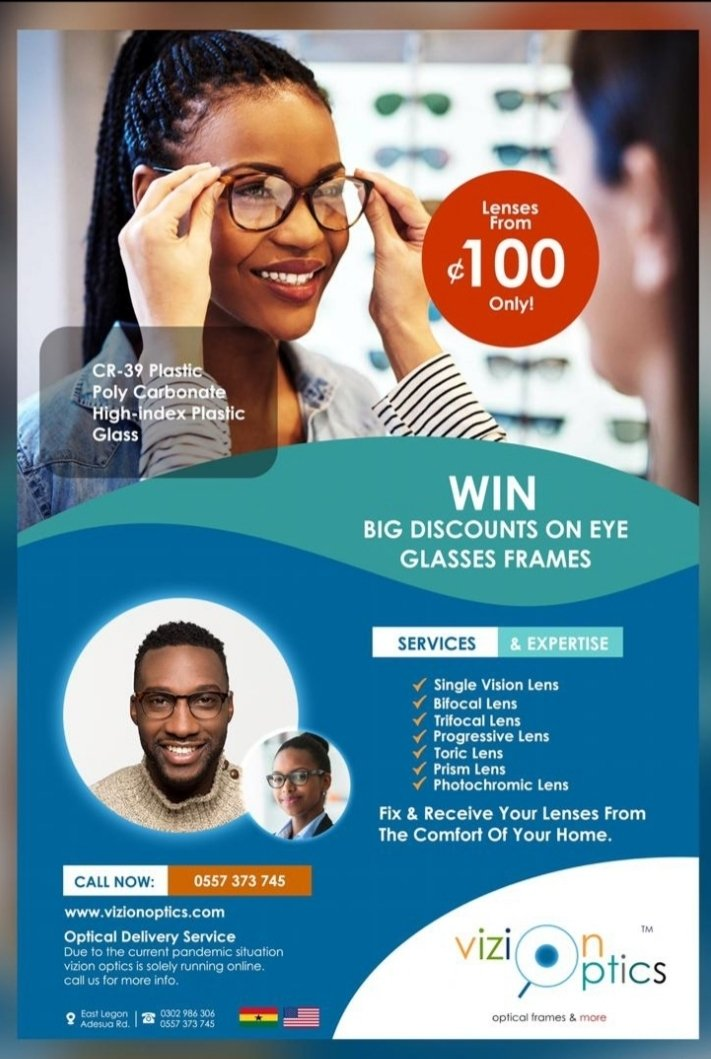 Do you want VALUE for your money? Do you want Quality?Then contact Vizion Optics on 0263587321/0578133530 and place your order on all optical frames and lenses types. Send in your prescription as well and enjoy 50% off on all your lenses.  #CHEWOL #RawlingsGoesHome