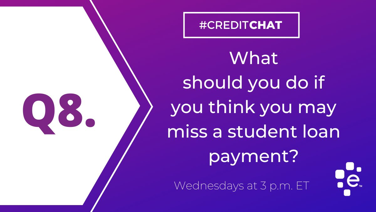 Q8: What should you do if you think you may miss a student loan payment? #CreditChat