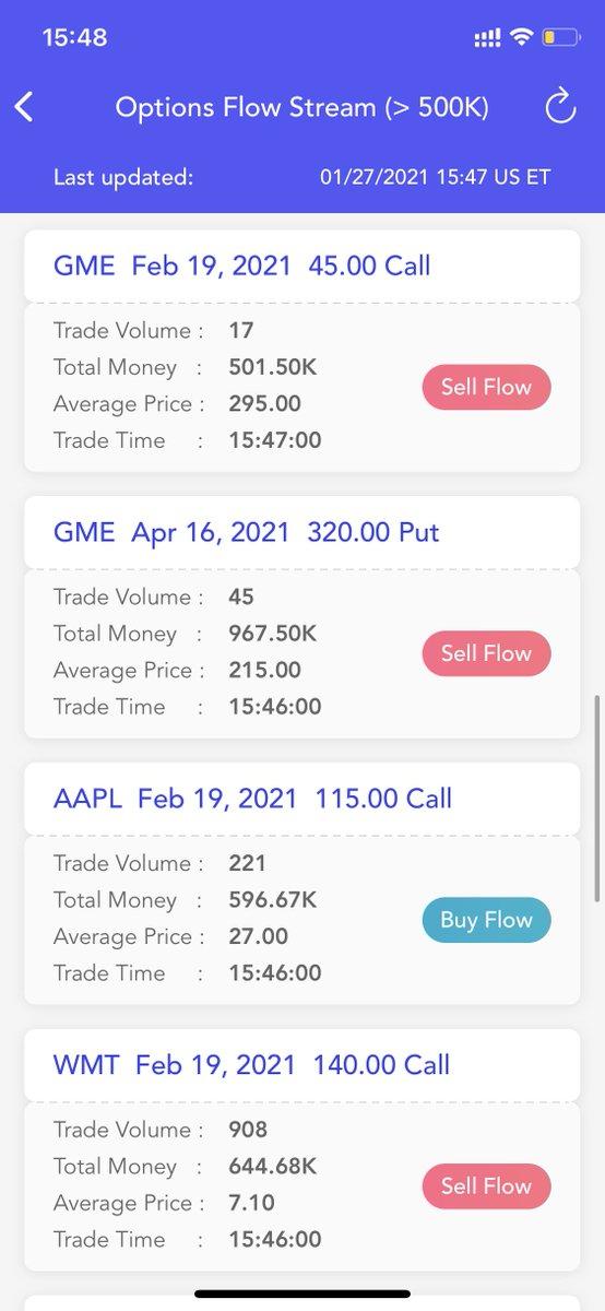 #Options Flow Stream Update $AAPL $TSLA $GME $WMT $BABA $EEM $X $NNOX $SPX #OptionsTrading #OptionsFlow #optionstrade #optiontrading #stock #stocks #StockMarket #Investment #investing #invest #investor #investors #UOA