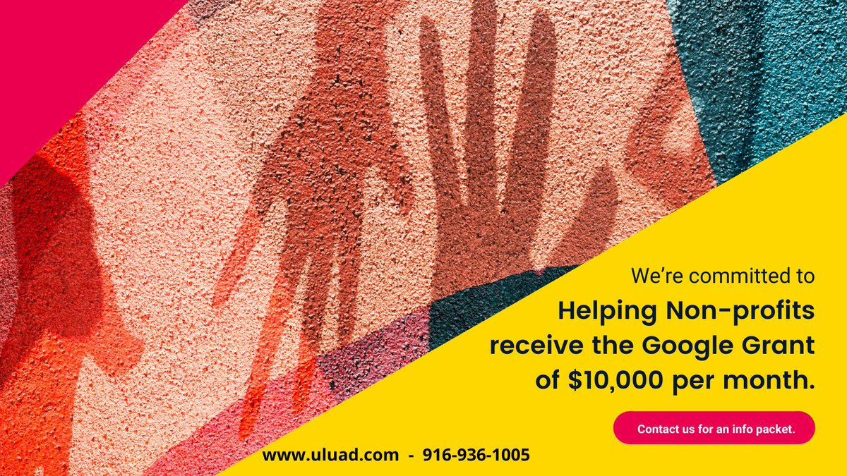 Everyday our staff of Google Ads Grant Certified Professionals helps non-profit organizations receive their Google Grant. Let us help you as well! #uluad #grantsfornonprofits #Nonprofits