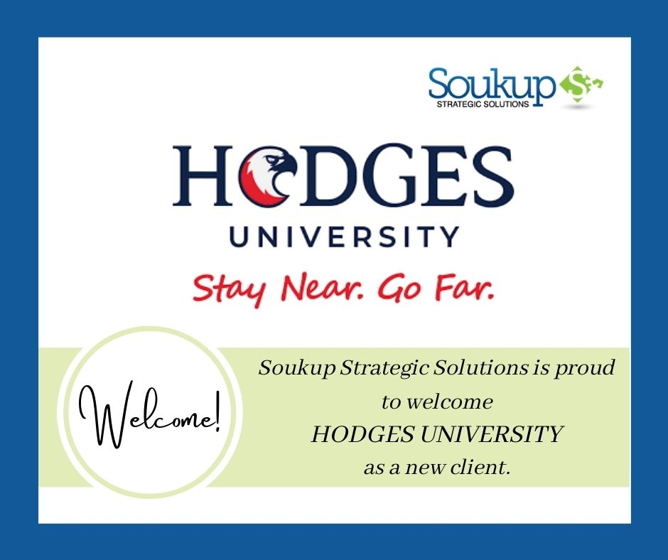 Soukup Strategic Solutions is proud to welcome Hodges University as a new client. We look forward to what we will accomplish together.   @Hodgesu #NonprofitConsulting #SoukupStrategicSolutions #HodgesUniversity #Nonprofits