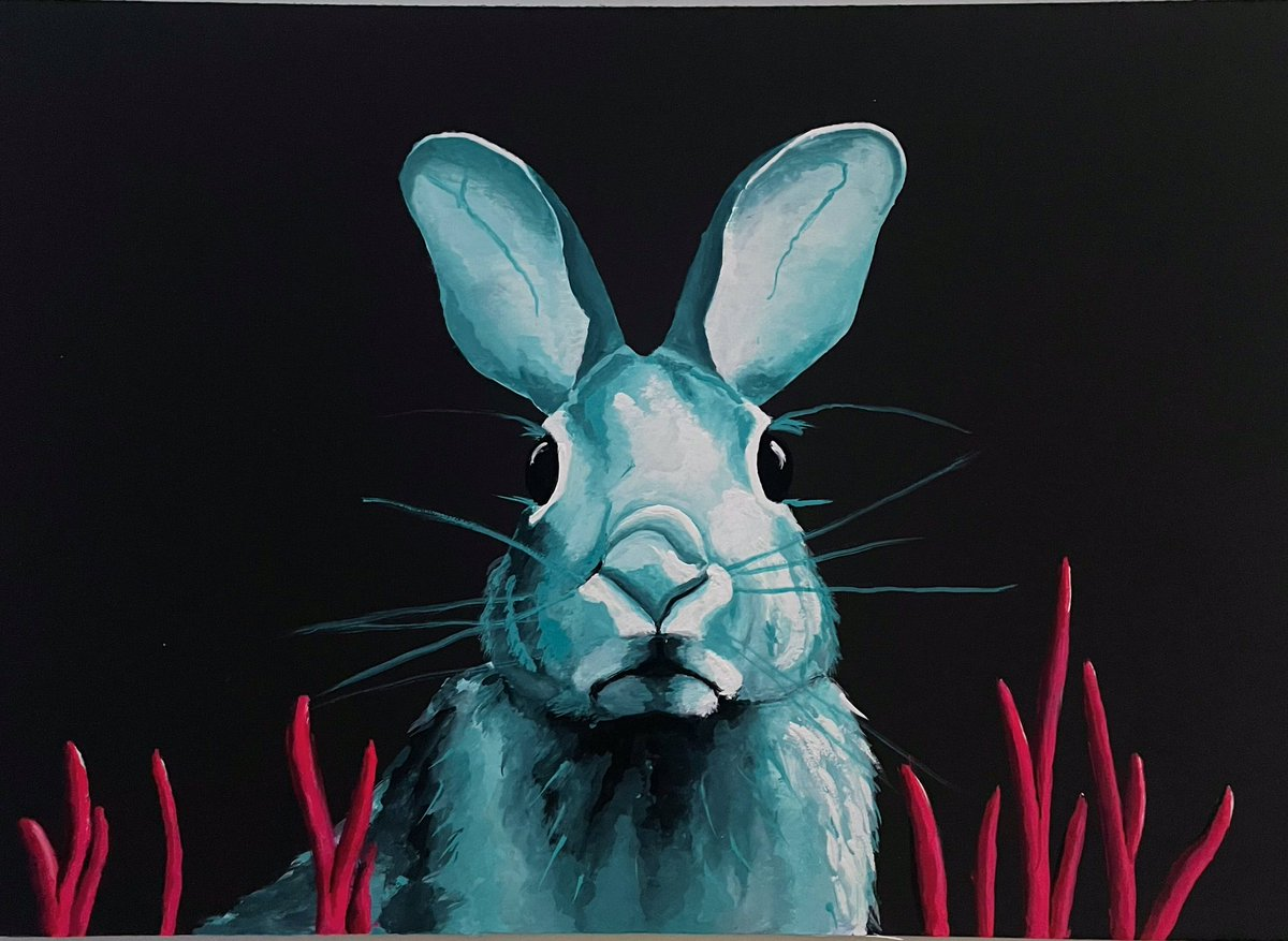 My mouth painting - Turquoise Rabbit. I am only able to paint by holding the brush in my mouth.