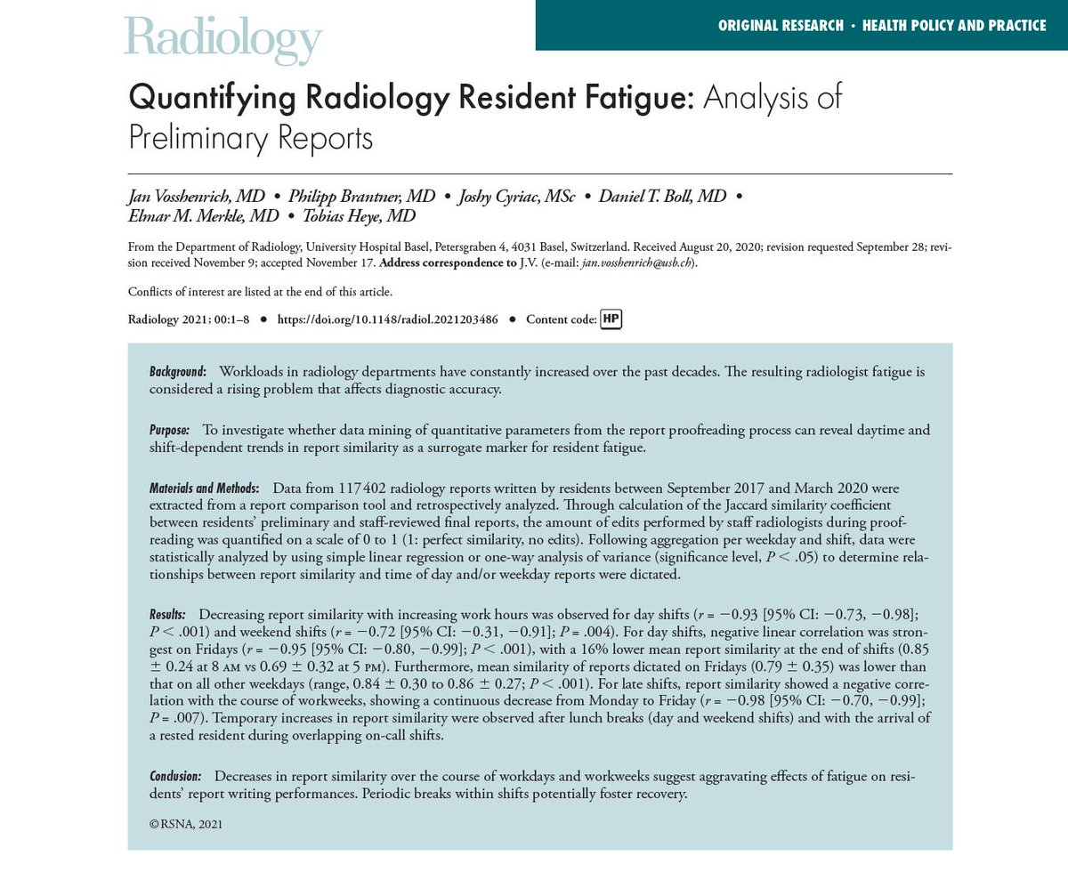 How does fatigue affect the performance of radiology residents?   A #RadInTraining #tweetorial  Read more @Radiology_RSNA:   #wellness #burnout #radiology #radres #MedEd