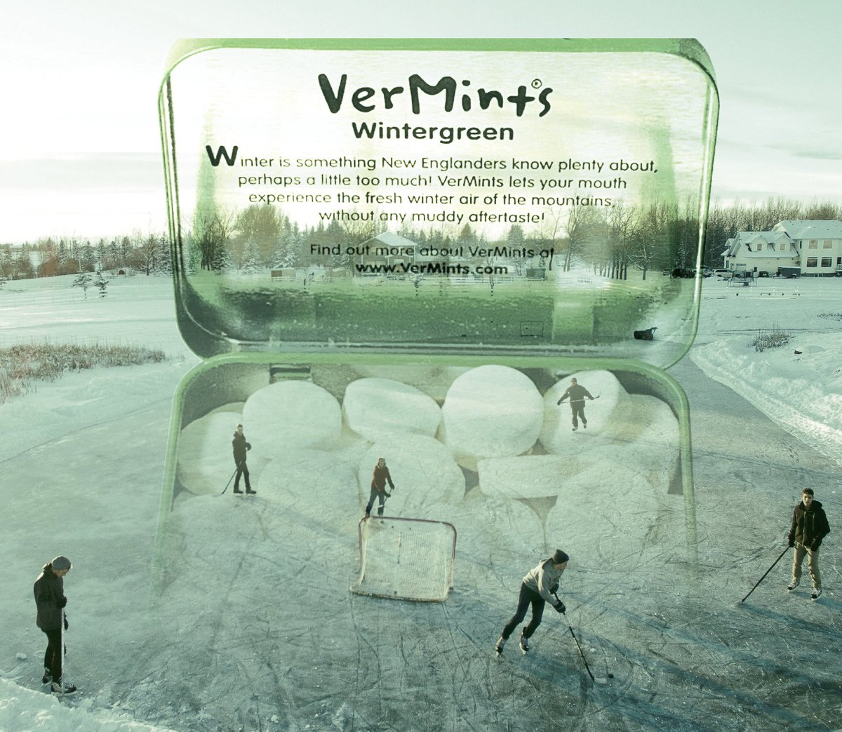 A nostalgic New England winter's day packed into every tin!  #NewEngland #Wintergreen #MemorableMoments #Natural #BogSkating #FreshAir #MintyFresh #LittleMomentsOfTruth #GrabLifeAndTasteIt #Vermints