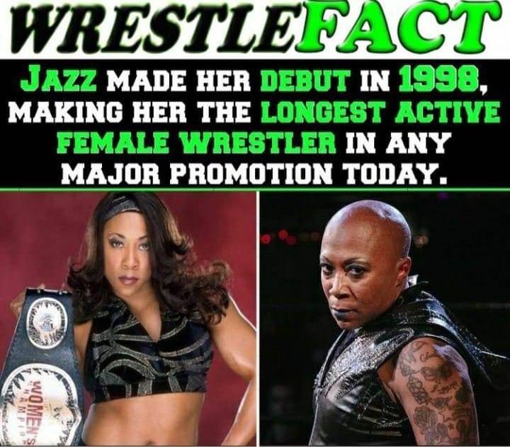 Congratulations to @Phenom_Jazz on being the longest active female wrestler in any major promotion today @IMPACTWRESTLING #impactwrestljng