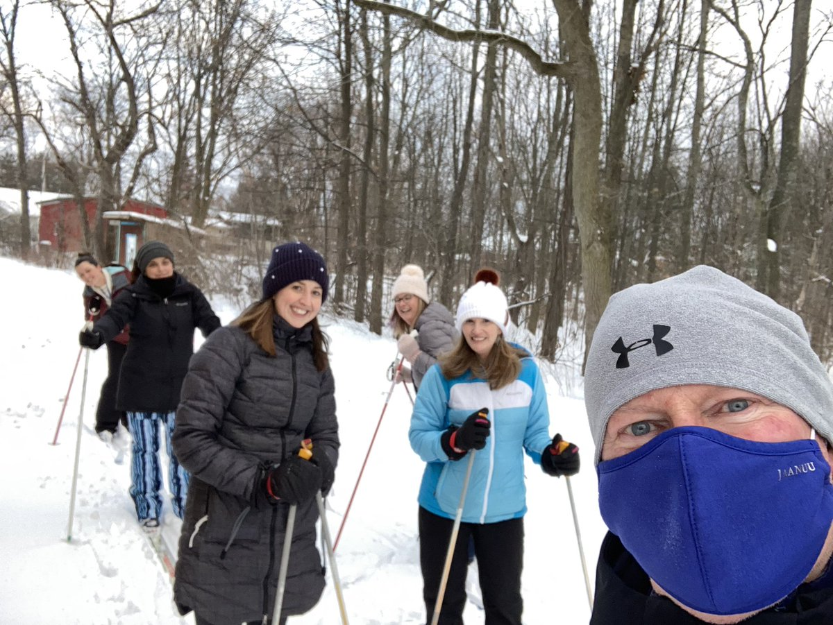 Grateful for @philipgooley who not only takes care of our students physical health but our staff too! XC skiing through the NPE trails! #teamwork #kindness @LCSDAthletics