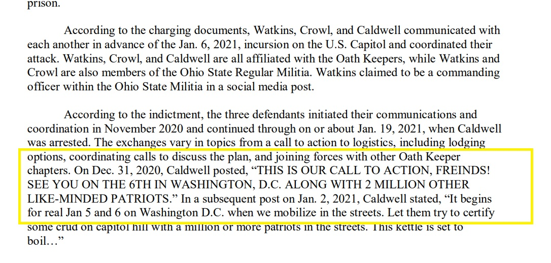 Three people associated with OATH KEEPERS are indicted on charge of conspiracy for US Capitol Insurrection.  One from Clarke County, Virginia, two with ties to an Ohio militia.    Allegations of coordination behind the attack