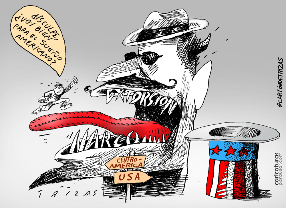 Pesadilla  #Cartón de @cartondetrizas  #AmericanDream, #SueñoAmericano #Caricatura, #Viñeta, #Cartoon  #EditorialCartoon #PoliticalCartoon -