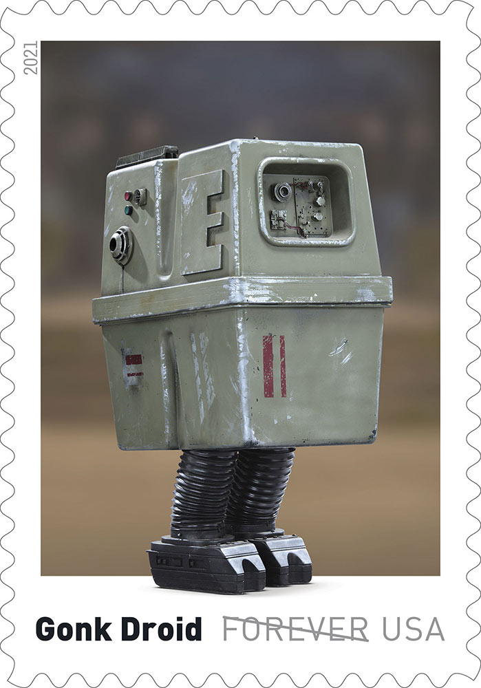 Assuming everyone saw the forthcoming official #StarWars USPS Droid stamps? We're glad a few of the classics made the cut, but we're ECSTATIC that the #Gonk will be appearing in mailboxes!  Check out our own Gonk here:   #TomSpinaDesigns #Stamps #USPS