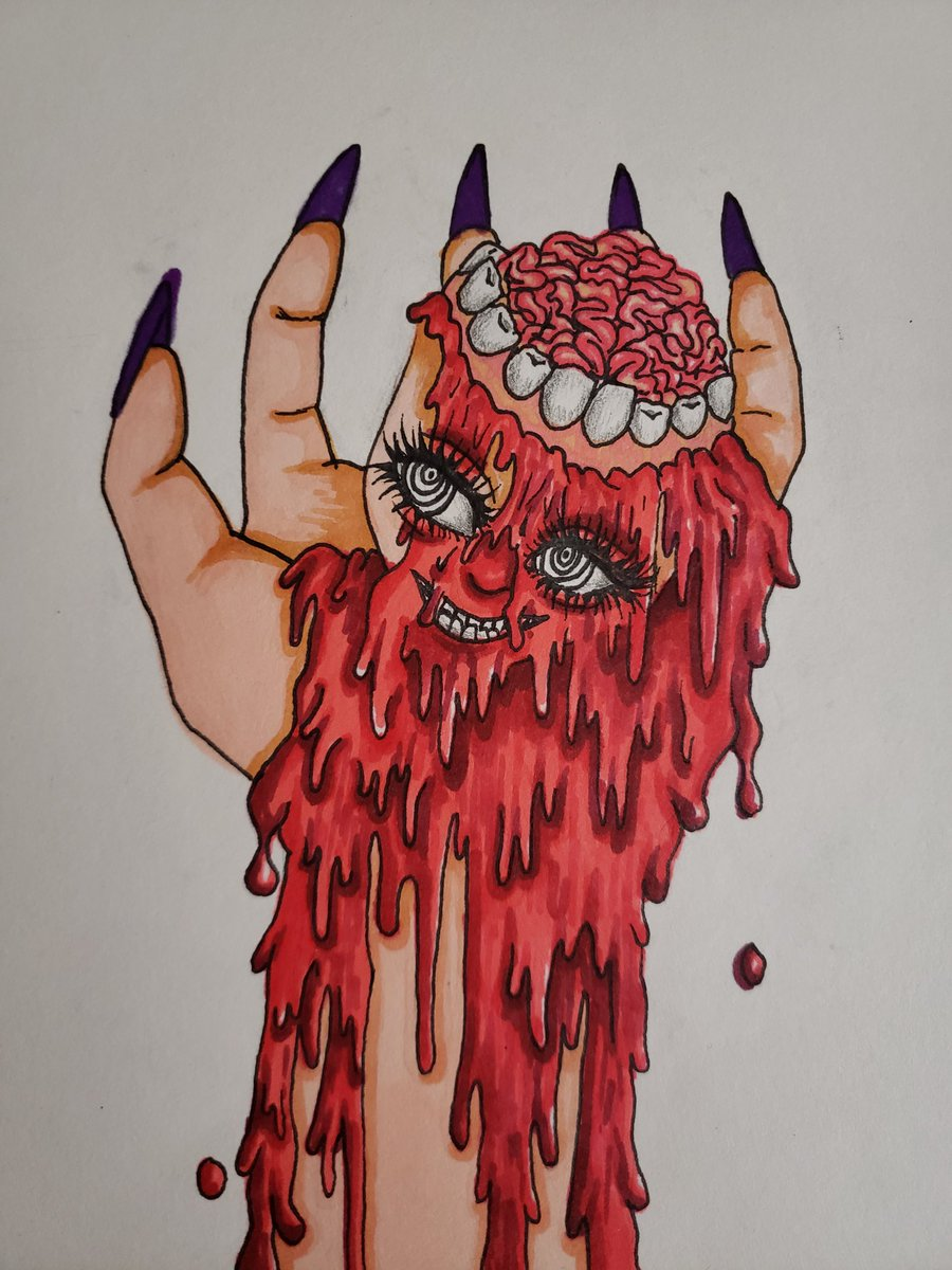 Lemme add another picture i need to redo digitally 🩸🩸🩸🧠#bodyhorror #horror #art #artist #artistic #eroguro #gore #Blood #HorrorArt #sketch #drawing #color #Abstract #krita #animegirl #anime #animeart #artistsoftwitter