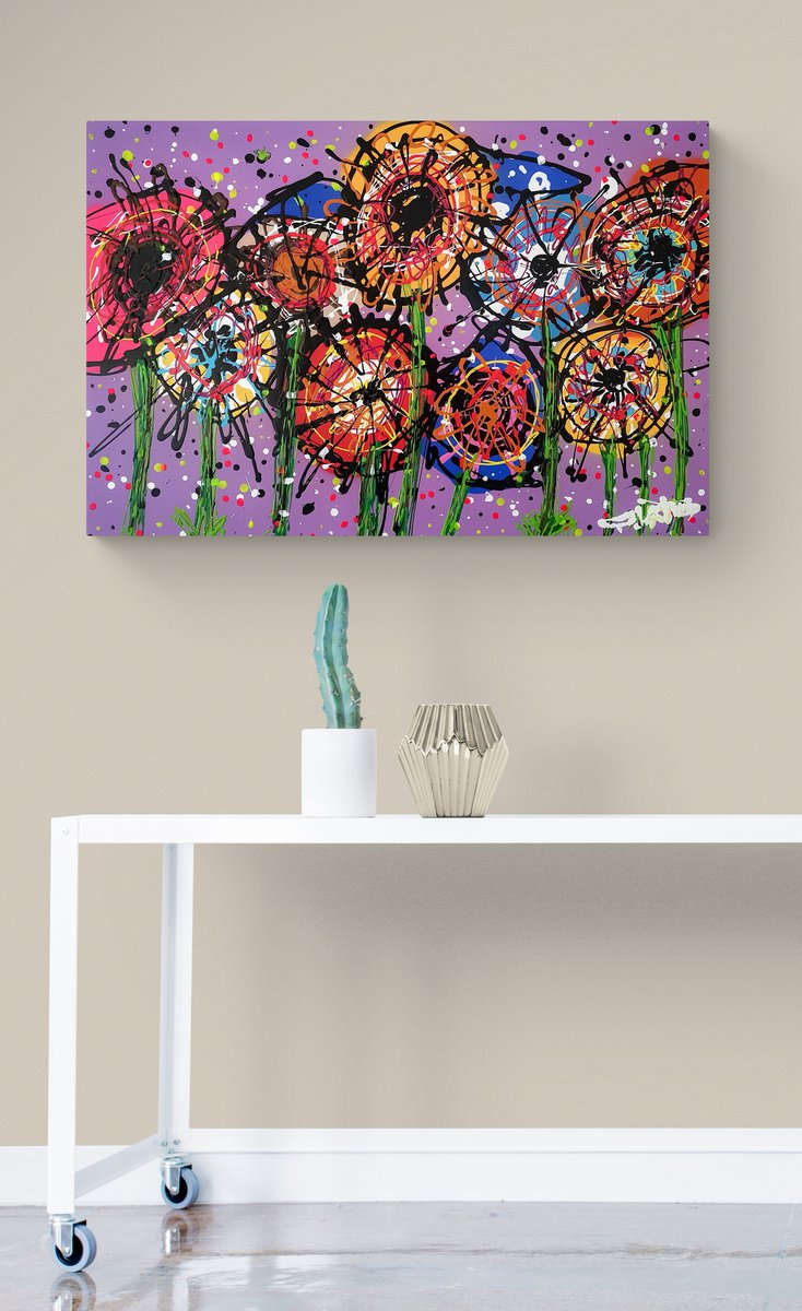 """36"""" x 24"""" on custom wood panel framed. Alot of planning in the background in preparation for this piece to make it look like there's no planning. #artlife 😁👨🎨 . . . . . #abstractfloralart #abstractart #flaming_abstracts #arte #artsy #irishpainting #irishartist #flowers"""