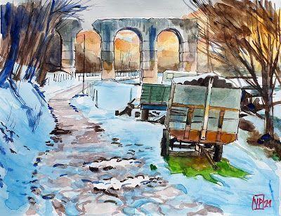 Artwork>Peinture> Le pont-syphon du Garon, ruine romaine à Brig =>  #artwork
