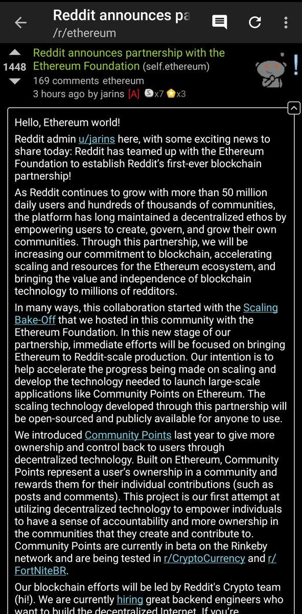 🔥 Reddit just announced a partnership with the Ethereum Foundation reddit.com/r/ethereum/com… #eth $eth #crypto #blockchain