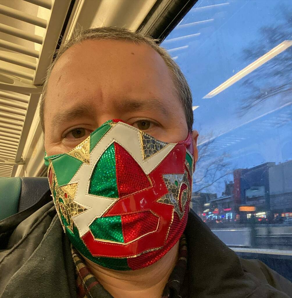 I grew up watching @reywagner_oficial #drwagnerjr #luchalibre ... my first mask was a Dr. Wagner Jr. and to see that @pwrevolution #luchamasks offered this was awesome! #wrestling #podcast #nyc