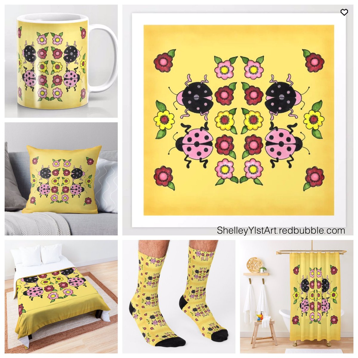"More ladybugs! ""Ladybugs with Flowers"" 👉  Link to my Redbubble Shop 👉  #shelleyylstart #redbubble #ladybug #ladybugs #ladybugsofinstagram #art #artprints #flowers #decor #homedecor #coffeecup #pillow #comforter #socks #showercurtain"