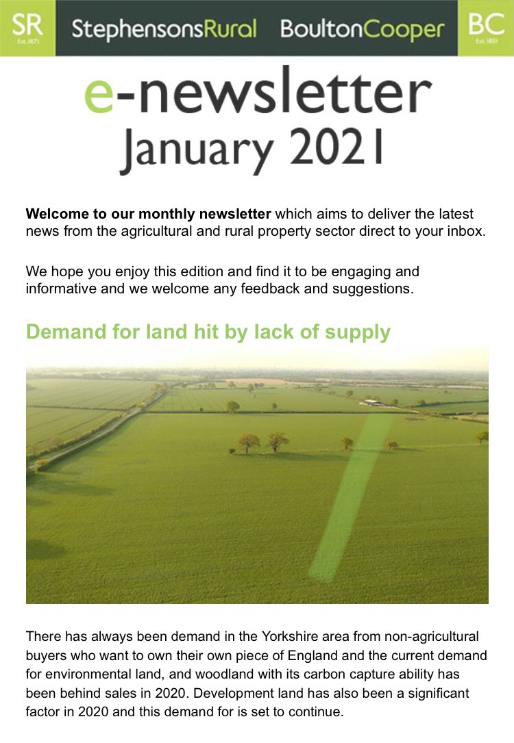 Rural Vision e-newsletter January 2021 - keeping you up to date with the latest news from our team of experts in the #agricultural and #property sectors.   …