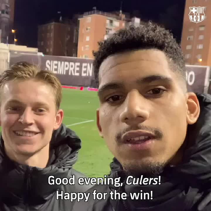 🙋♂️ A special message for #Culers from @RonaldAraujo939 and @DeJongFrenkie21!