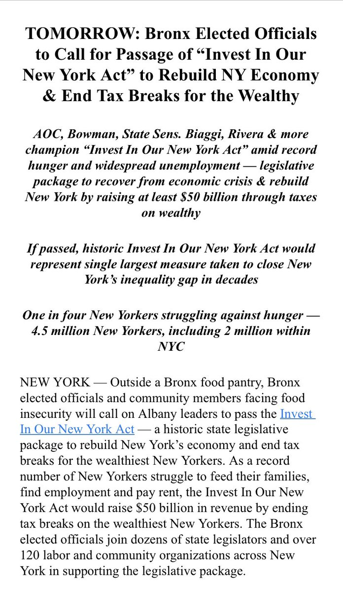 Tomorrow afternoon @AOC joins Bronx elected's in calling on Albany to pass tax increases on the wealthy.  @NYGovCuomo has proposed a tax hike on high income earners in his 2022 proposed budget, but legislators and advocates say it doesn't go far enough.