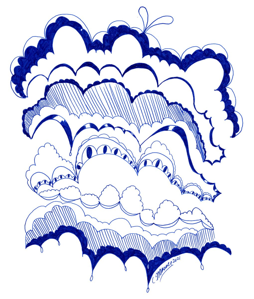 Creating this bubble shape comes very naturally to me. So why not make endless fun? Love, Cynthia ❤️  See more illustrations at   #cynthiamosser #illustration #fun #bubbleshape #clouds #pen