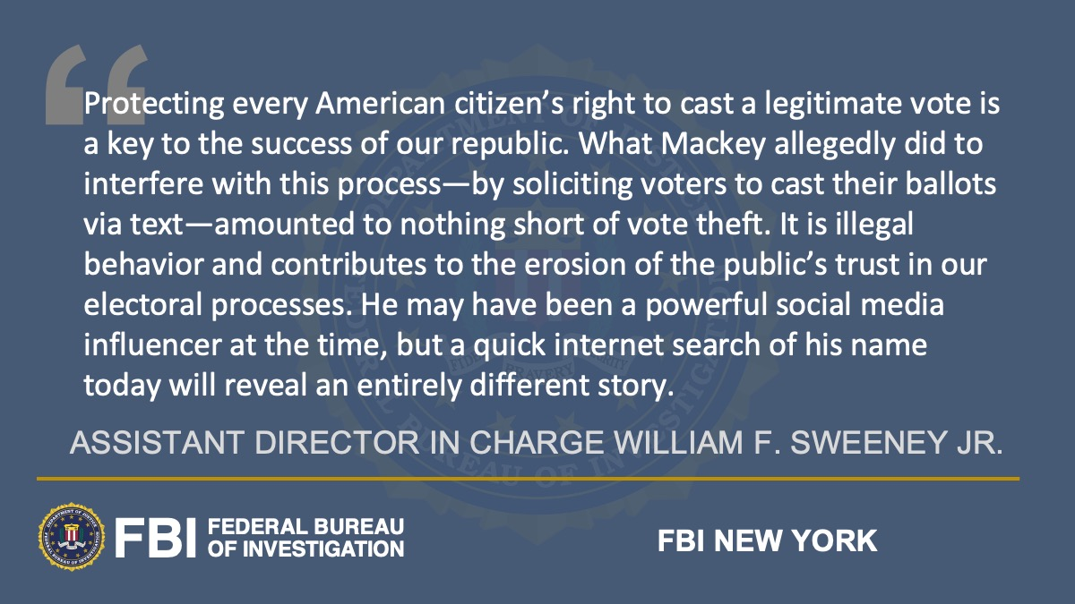 Social Media Influencer Charged with Election Interference Stemming from Voter Disinformation Campaign @NewYorkFBI