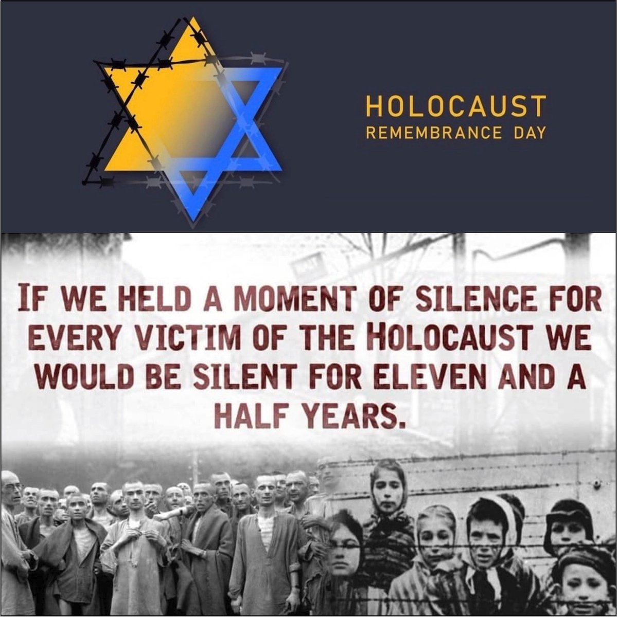 Today is a day to #neverforget and to never allow to happen again. #HolocaustRemembranceDay