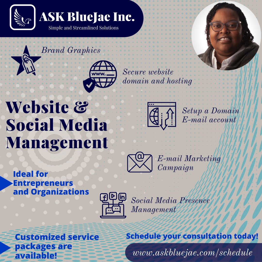 @ASKBlueJae is accepting new clients with Services: *Business and Organization Preparation  *Website and Social Media Management  *Project Management  *Merchandise Development  Book a consultation with   #Support #Share #Shop #SmallBusiness #Entrepreneurs