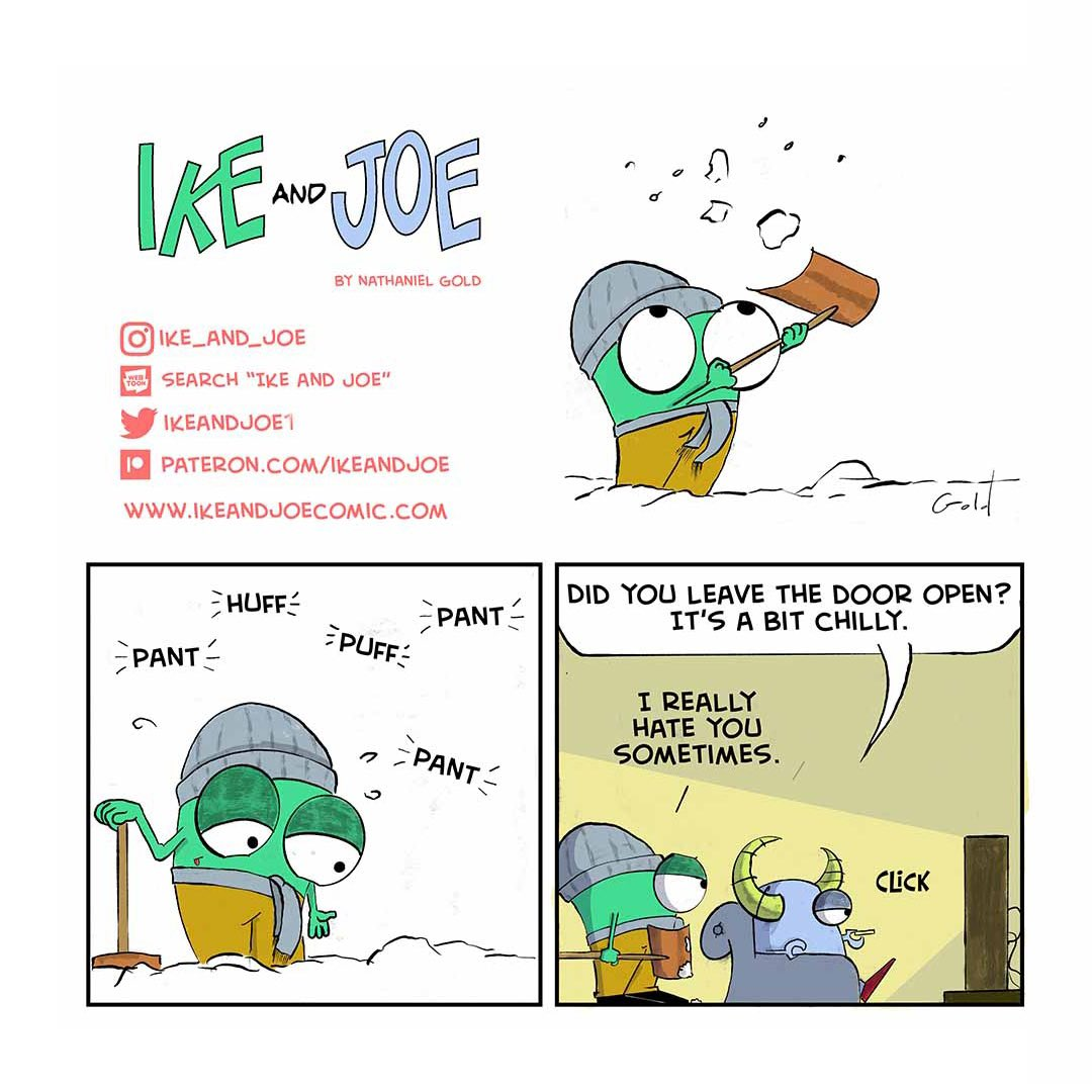 I really hate shoveling snow #snow #comicstrips