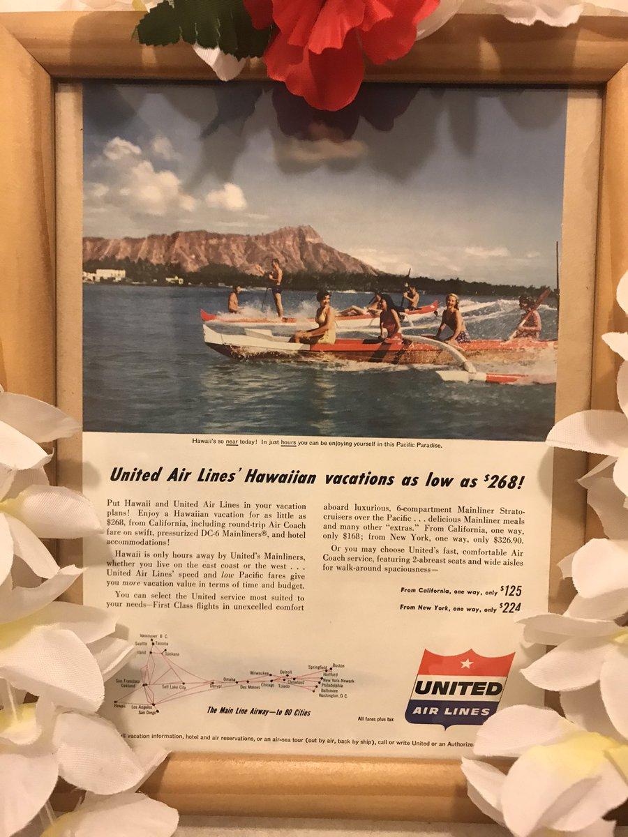 我が家の壁にあるユナイテッド航空の宣伝広告‼️マトソンライン🚢やパンナム✈️がハワイを身近にして憧れた時代🏝行きたくても行けない人もいた筈💦今は行きたくても行けない時‼️早くHawaiiの空気に触れたい❣️Hawaiiのマナを感じたい🌋 Aloha🌈🌺🤙 #hawaii #ハワイ #maui #マウイ #aloha #mana #honu