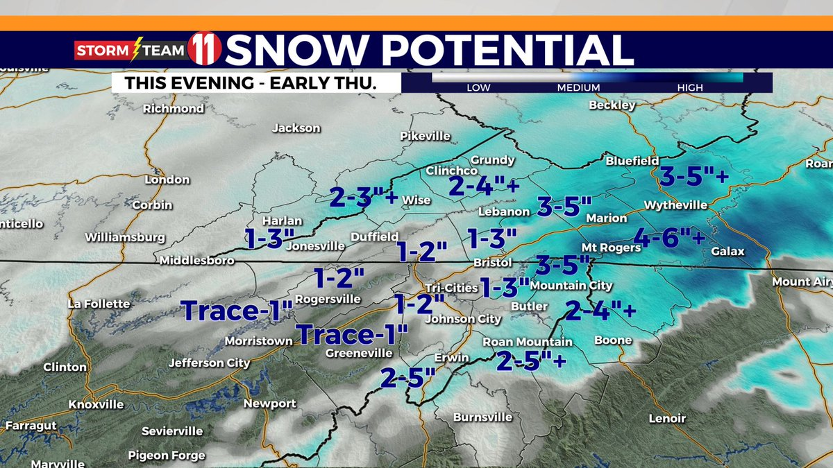 "My final projected snow totals for tonight through early Thursday is pretty similar to what I shared with you yesterday. The ""+"" signs mean I think there is a better chance of some spots in that area getting more. #snow #wjhlwx"