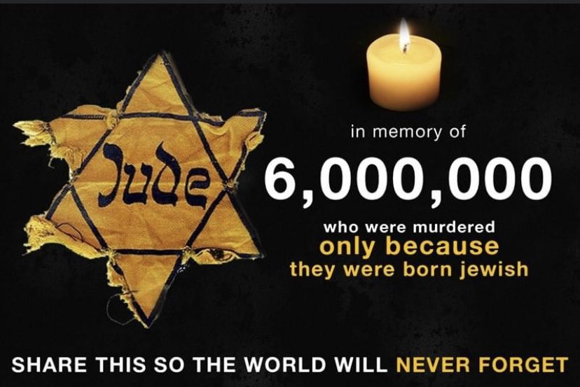 Today is Holocaust Remembrance Day.  A horrific event that we never want to forget.  #NeverForget #HolocaustRemembranceDay 🕯🕊