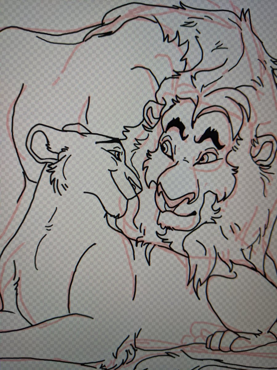 Yes I will forever start new pieces before i finish/post existing ones, let me be (This is my take on Ahadi & Uru, because the semi canon challenge got me PUMPED) #tlk #tlkart #thelionking #tlkfanart #furryart #furryoc #wipart