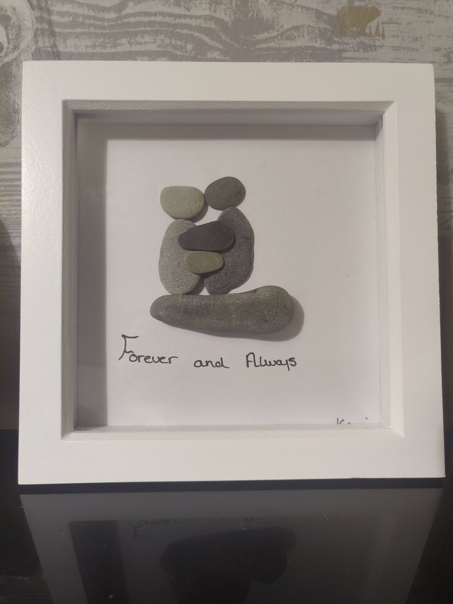 Forever and always beach stone art. The perfect gift for your loved one or valentine's. You can find this now at:  #seaglass #art #crafts #beachcraft #CraftWednesday #love #valentines #gift